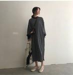 ボーダーワンピース ロングスカート カレッジスタイル サイドスリット【0405】