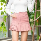 Unbalanced Pleated Skirt  (Pink)
