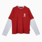 「WWL」レイヤードTシャツ レッド