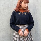 (LOOK) flower embroidery scallop neck knit
