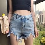 【bottoms】ショートパンツデニムファッションダメージ加工不規則無地