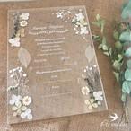 【4U wedding】ホワイト アクリル結婚証明書(専用ペン付) 押し花とプリザーブドフラワーを使用 結婚証明書 ブライダル ウェディング アクリル板