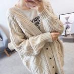 ざっくりカワイイ!ボリューム カーディガン ◆ ケーブル編み
