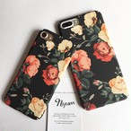 【iphone7/7plus】エレガントローズ ハードiphoneケース 花柄 薔薇 ブラック