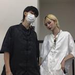 【半袖】 チャイナ風トップス シャツ 改良唐装 中華服 ブラック 黒い ホワイト 白い 原宿風 男女兼用 ゆったり