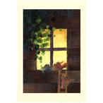『小さなお客様』 お土産のドングリを持ってやってきたリスさん 窓越しのかわいいお客様が癒しのイラスト ポストカード