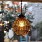【照明】ベリルガラスペンダントランプ アンバー【1584】