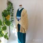 正絹綸子 浅黄に総絞りの羽織・ショールのセット