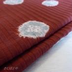 正絹 臙脂に水色の絞りのはぎれ