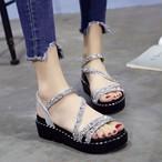 【shoes】キラキララメ入り厚底全2色美脚レディースサンダル20838820