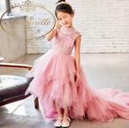 フリル ピンク お呼ばれ おんなのこ ロング ドレス ギャザー お姫様 プリンセス 可愛い キュート エレガント