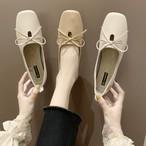 【shoes】簡約スタイルリボン結びスクエアトゥフラットシューズ