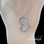 D107 ネックレス レディース 高品質ジルコニア ネックレス ペンダント ハート 人気デザイン ネックレス シルバー 女性 アクセサリー