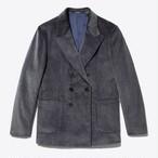 Oversized Double-Breasted Corduroy Sport Coat(Grey)