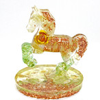 馬型 シトリン&ペリドットオルゴナイト 置物 財運をもたらす馬モチーフ