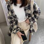 【tops】カジュアルチェック柄折り襟新作トレンドシャツ 23162274