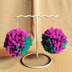 ポンポンピアス/mix2色・紫×緑