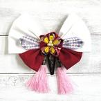 【Izuchi】つまみ細工とリボンの簪風ヘアピン(紅白)/ヘアピン
