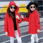 子供服 アウター ジャケット ♡ 【2カラー】 花柄 フード付き 上品 暖かい スタイリッシュ お出かけ お呼ばれ 女の子ファッション 【QA0004】