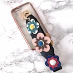 【即納★送料無料】縁ローズゴールドクリアケース&お花フラワー スタッズ ストラップ付 iPhoneケース