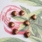 チョコレート色のヴィンテージハートチャーム(6コ)