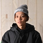 2018 RAKUGAKI Cantopen Logo Knit Cap Grey x White