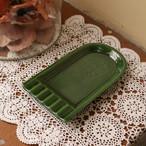 昭和レトロ 陶器製 灰皿 グリーン