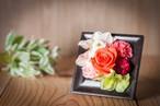 【花のギフト・プレゼント】プリザーブドフラワー-バースローズ- オレンジ〈花:カーネーション・バラ〉