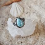 Drop Larimar Plumeria Ring #1