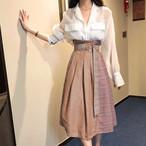 【セットアップ】二点セットファッションチェック柄POLOネック23873965