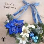 【クリスマス】Merry Christmas2017✳︎横幅約40㎝!ブルーポインセチア 三日月型クリスマスリース