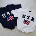 モコモコ立体USAロゴTee White/Navy