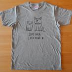 Tシャツ「Love cats Love dogs1 」ヘザーグレー