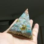 海亀の泳ぐピラミッドオルゴナイト☆アマゾナイト、ラリマー、ブルーレースアゲート、ローズクォーツ、星の砂