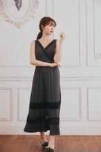 Lace-Trimmed Jersey Long Dress