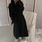 ロングコート 袖ベルト ブラック 韓国ファッション レディース アウター ロング丈コート 長袖 レトロ シンプル DTC-603630388177