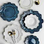 [各サイズ2枚セット] アンティーク調エンボス柄セラミックプレート アンティーク加工 テーブルウェア デコレーション トレー 雑貨 テーブルコーディネート ディスプレイ 装飾品