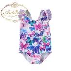 女の子 水着 子供用 かわいい ちょうちょ パープル 紫 スイムウェア ストライプ 海外デザイン フリル