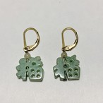 Vintage Openwork Jade Chinese Character Pirced Earrings