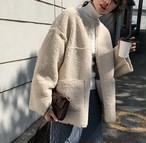 【送料無料】 ノーカラー ボア ジャケット ファーコート もこもこ ゆるかわ 大人可愛い カジュアル ガーリー きれいめ アウター