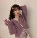 2色 ニット トップス クロスラップ リブ Vネック ショート丈 長袖 大人可愛い セクシー カジュアル 韓国 オルチャン ファッション