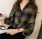 トップス レディース チェック柄 シャツ 長袖 シフォン ゆったり 大きいサイズあり 大人可愛い 黒 アプリコット 全2色 秋 新作 P1552