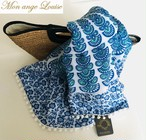 ◆Mon ange Louise◆ beach towel(blue/white)ポンポン付きOVAL型ビーチタオル(ハンドメイド)