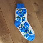 【ロシア】 厚手靴下 (青 花) 24cm くつした くつ下 ウール
