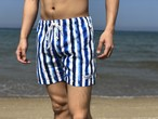 【SUMMER SALE】ThreeArrows Print Board Shorts(stripe blue)