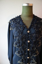 Navy×Gold lace blouse