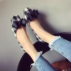 【キャンペーン対象商品】plaid bow flat sandals 2244