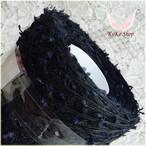§koko§ 黒薔薇 1玉 57g インディゴ染め麻100% シルク100% リボンフラッグ 引き揃え糸