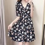 【dress】着痩せ花柄プリントスリム半袖ファッションワンピース