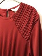 shoulder pleated polyestel dress